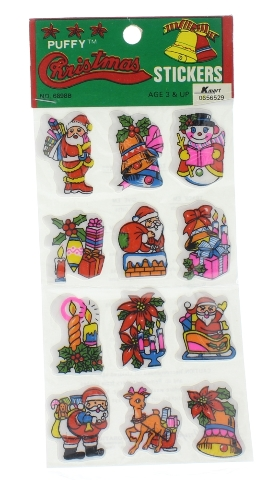 Puffy Christmas Stickers Christmas Themed from K-Mart Vintge