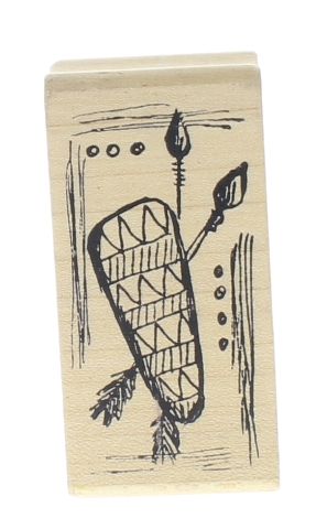 Magenta Indian Arrows and Tomahawk design rock Wooden Rubber Stamp