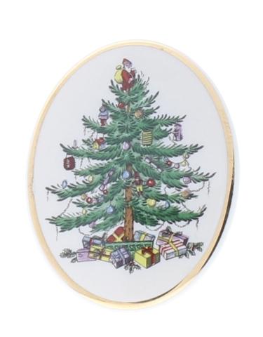 Spode China Holiday Christmas Tree Oval Hat Lapel Pin