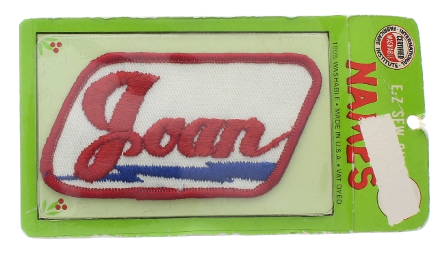 E-Z Sew Names Joan Red white and Blue Vintage Uniform Patch new in original package