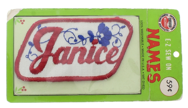E-Z Sew Names Janice Red White and Blue Vintage Uniform Patch new package