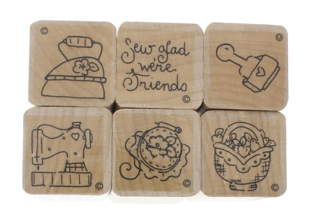 Set of 6 Lot Sew Glad We are Friends Wooden Rubber Stamp