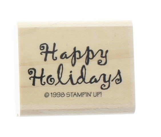 Happy Holidays Stampin Up 1998 Words Writing Phrase Wooden Rubber Stamp