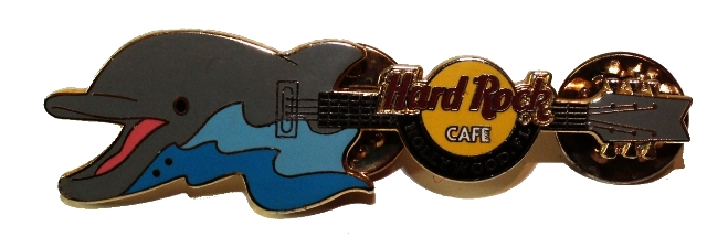 Hard Rock Cafe Florida Dolphin Guitar Hat Lapel Pin