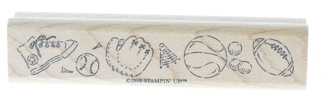 Stamping Up 1998 Sports Themed Wooden Rubber Stamp