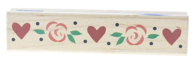 Stampabilities Rosey Heart Border Wooden Rubber Stamp