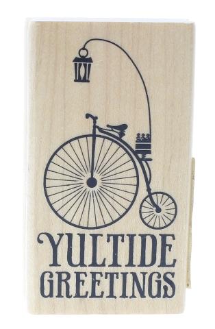Inkadinkado Yuletide Greetings Bicycle bike Wooden Rubber Stamp