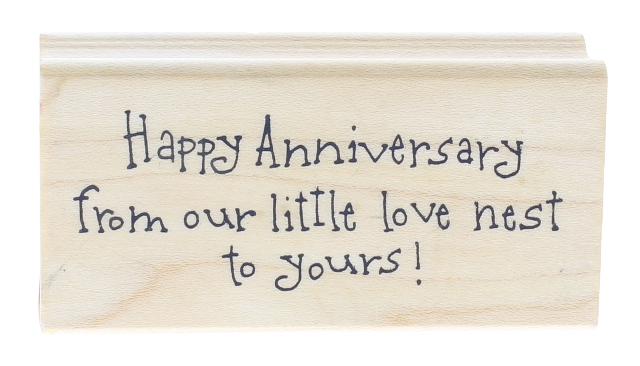 Art Impressions Happy Anniversary from our Love Nest Wooden Rubber Stamp
