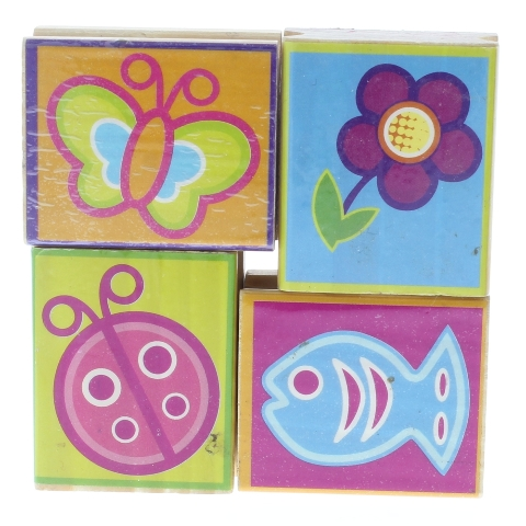 Butterfly Flower Ladybug Fish Whimsical Bold Wooden Rubber Stamp