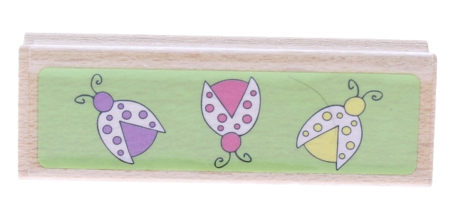 Katie and Co Ladybug Border Wooden Rubber Stamp