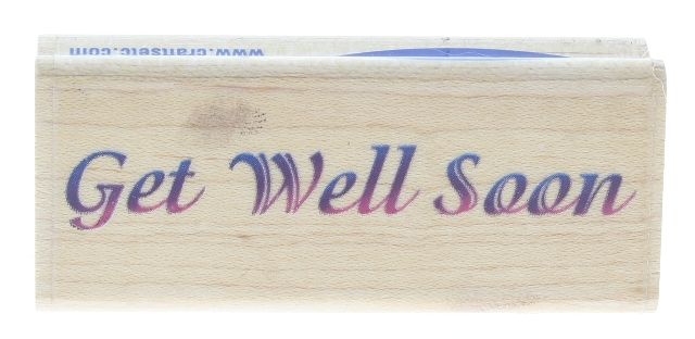 Stampabilities Get Well Soon Wooden Rubber Stamp
