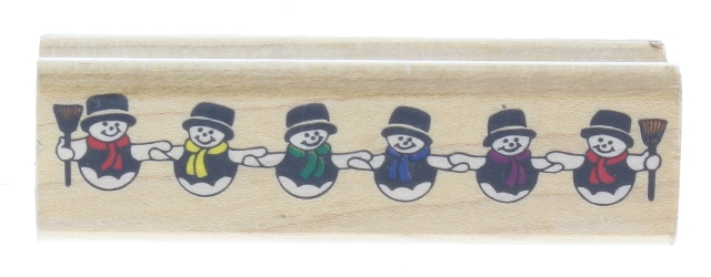 Canadian Maple Company Snowman Chain Wooden Rubber Stamp