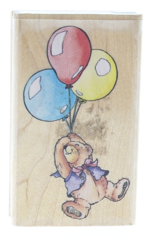 Rubber Stampede Teddy Bear Beary's Balloons Wooden Rubber Stamp