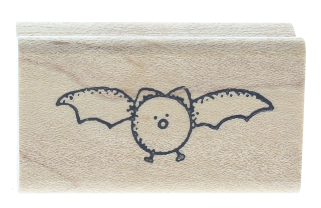 Whimsical Bat 2 Halloween Mammal Wooden Rubber Stamp