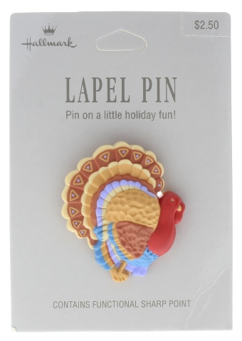 Hallmark Hat Lapel Pin Thanksgiving Fall Tom Turkey Gobble Gobble on Card