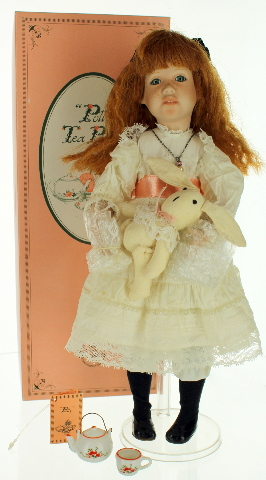 """15"""" Polly's Tea Party Victorian Little Red Head with Bunny Toy By Knowles"""