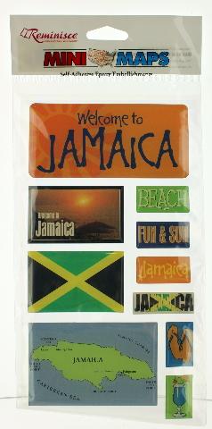 Welcome To Jamaica Self Adhesive Epoxy Embellishments Stickers