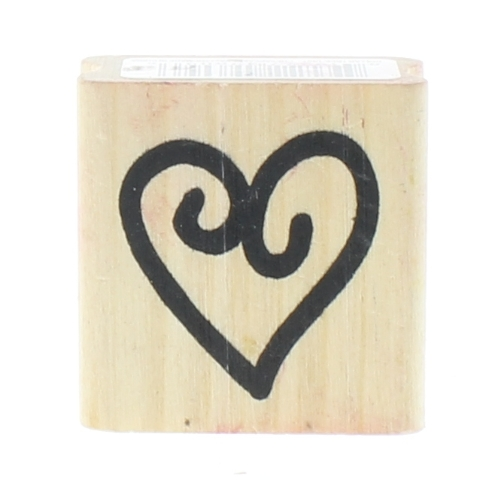 Whimsical Swirl Heart Wooden Rubber Stamp