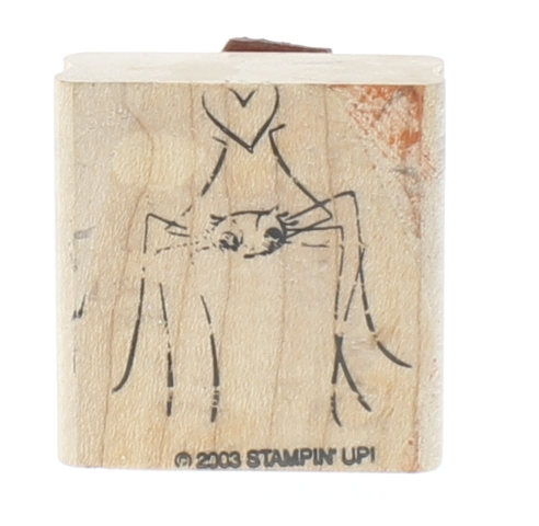 Stamping Up 2003 Grandaddy Long Leg Spider with heart Wooden Rubber Stamp