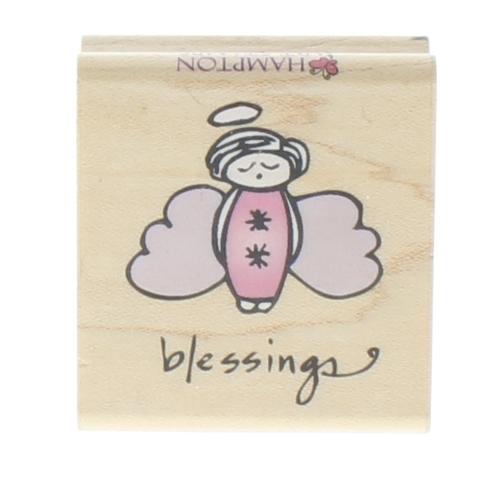 Hampton Art Blessings Charming Little Angel Wooden Rubber Stamp