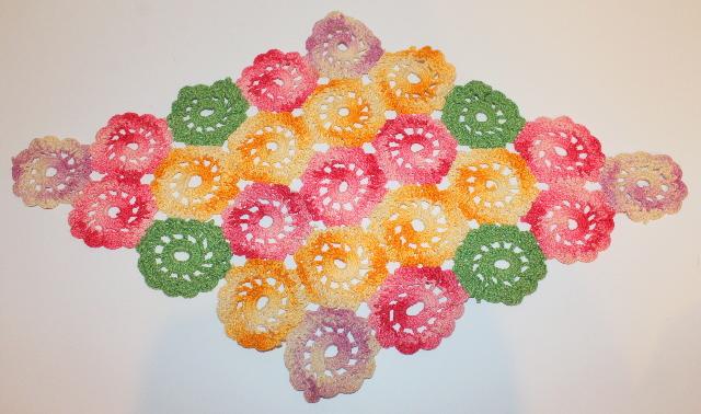 "Multi colored Floral Diamond Shape Crochette Doily  Size 18"" x 11"""
