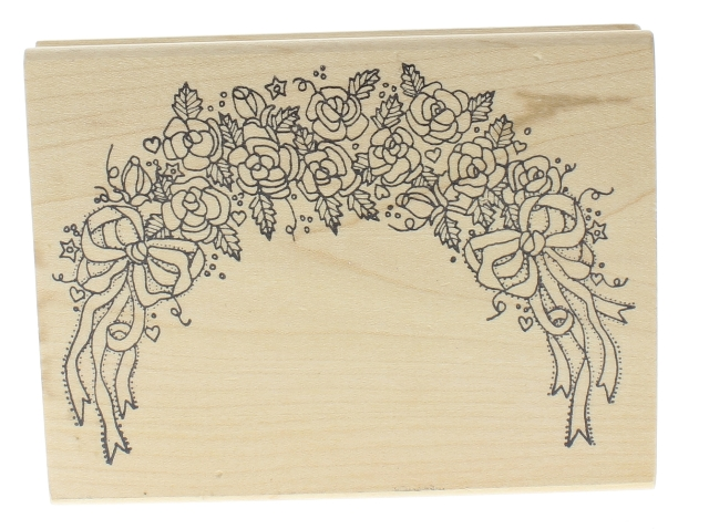 Imagine That M-287 Rose Flower Swag wtih bows and Ribbons Wooden Rubber Stamp