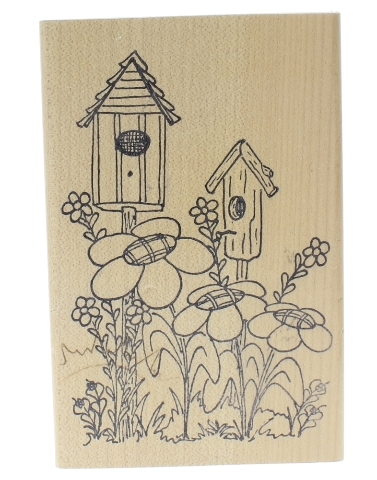 Bird Houses in the Flower Garden For Me and My House Wooden Rubber Stamp