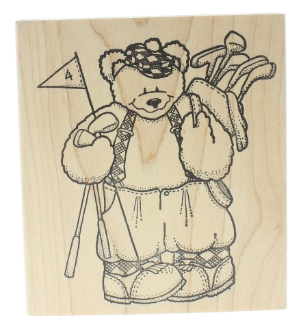 Darcia's Country Folk Golfer Teddy Bear Wooden Rubber Stamp