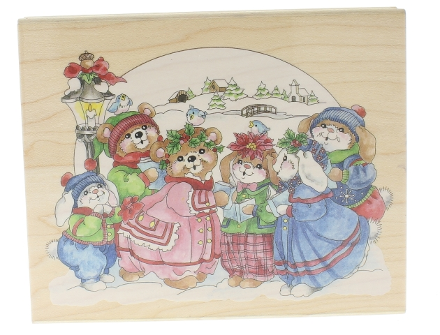 Stamps Happen Inc. Clover Hill Choir Bears and Bunnies Wooden Rubber Stamp