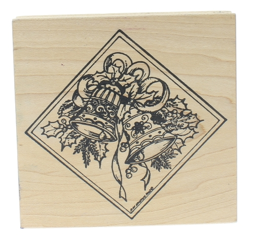 Northwoods Wedding Christmas Holiday Bells Wooden Rubber Stamp