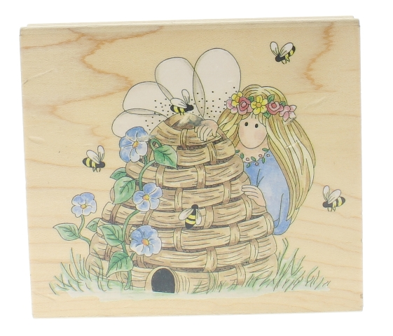 Stamps Happen Inc. Bumble Bee Keeper Honey Comb Angel  Wooden Rubber Stamp