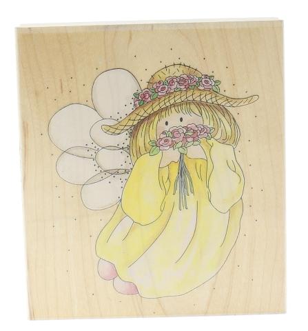 Stamps Happen Inc. Sunshine Flower Keeper Girl Angel  Wooden Rubber Stamp