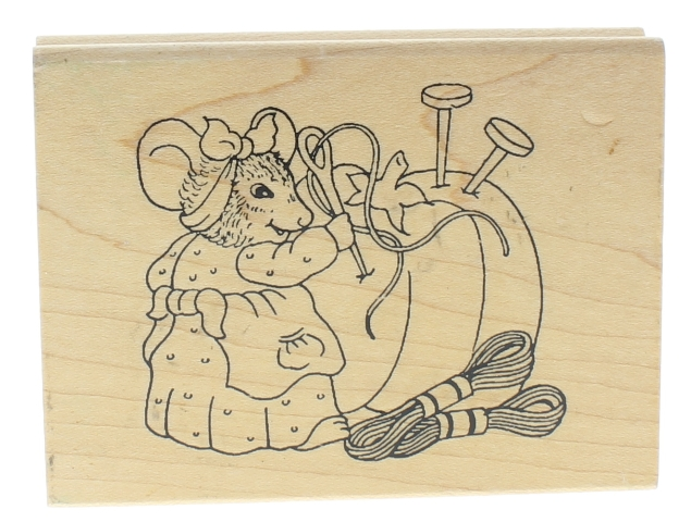 Mouse with a Sewing Station Needle Pins Wooden Rubber Stamp