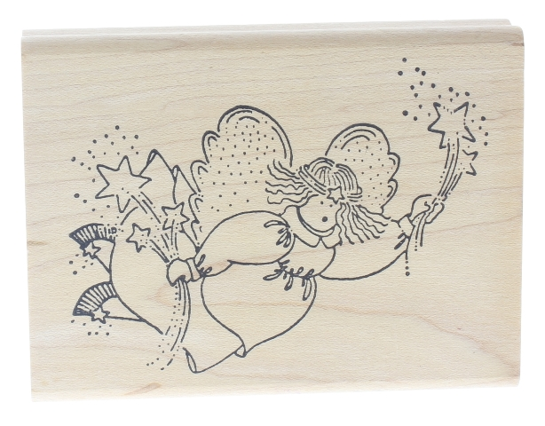 Love you to Bits Angel with Shooting Stars Wooden Rubber Stamp