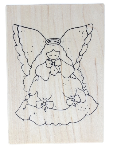 Stampa Rosa Graceful Angel Girl Wooden Rubber Stamp