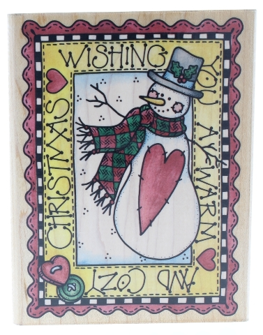 Wishing You a Warm and Cozy Christmas Rubber Stampede Wooden Rubber Stamp