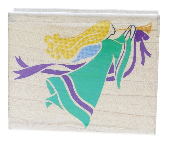 Rubber Stampede Flying Angel with a Brass Horn Wooden Rubber Stamp