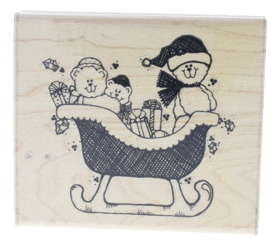 Dots Sleigh Family Bear Ride Wooden Rubber Stamp