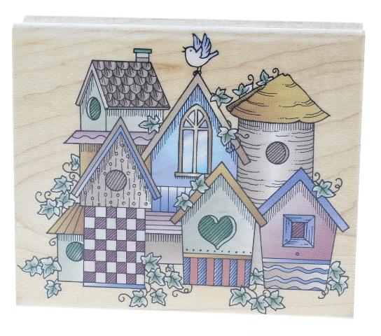 Hero Arts Birdhouse Village Wooden Rubber Stamp