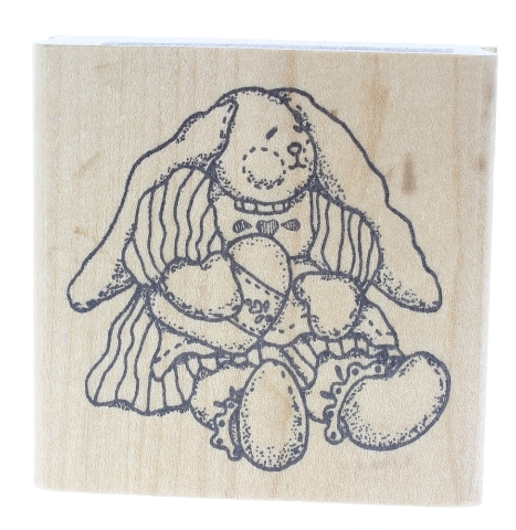 Imagine That Plush Bunny Rabbit Doll with a Heart Wooden Rubber Stamp