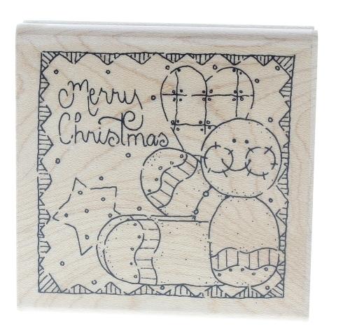 Merry Christmas Gingerbread Doll JRL Design Wooden Rubber Stamp