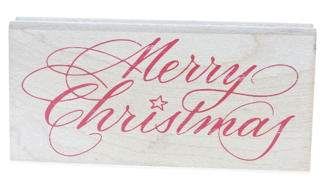 Rubber Stampede Merry Christmas Cursive Writing Wooden Rubber Stamp