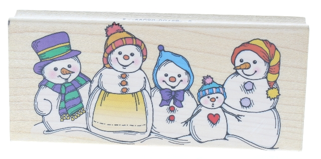 Hero Arts Smiling Snowman Family Wooden Rubber Stamp