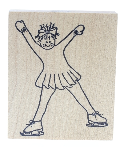 Simply Designs Ice Skate skateing Girl practicing her edges Wooden Rubber Stamp