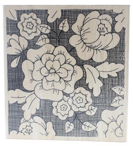 JRL Designs Garden Flower Background XL Wooden Rubber Stamp