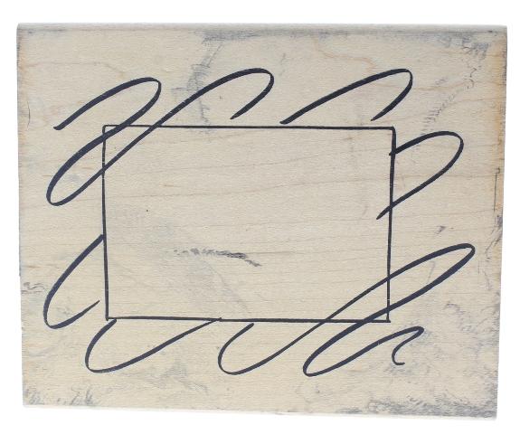 Denami Design Ribbon Swirl Frame Background XL Wooden Rubber Stamp
