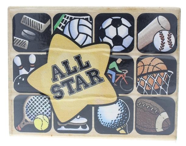 All Star Sports Background Tennis Baseball Basketball XL Wooden Rubber Stamp