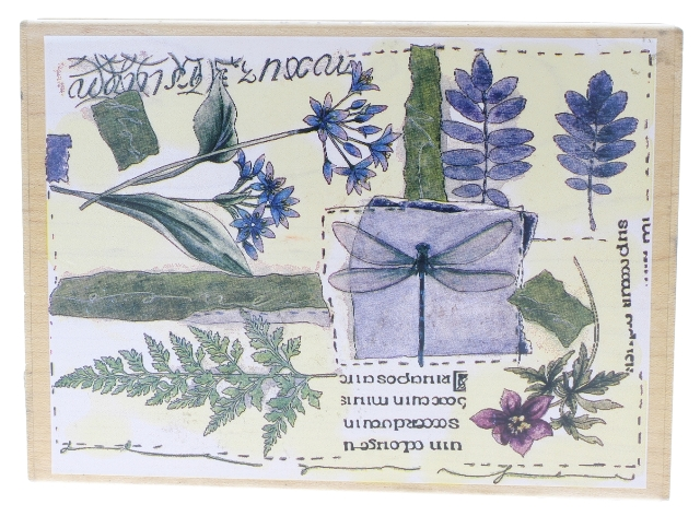 Stamps Happen Tapestry Studio Dragonfly Collection Collage Wooden Rubber Stamp
