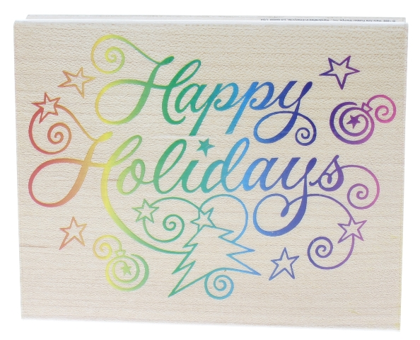 Hero Arts Happy Holidays Words Writing XL Wooden Rubber Stamp
