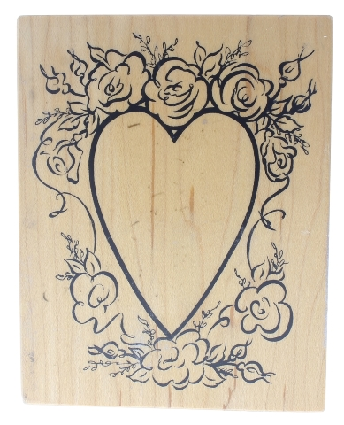 Romantic Wedding Roses Love Heart PSX  Wooden Rubber Stamp